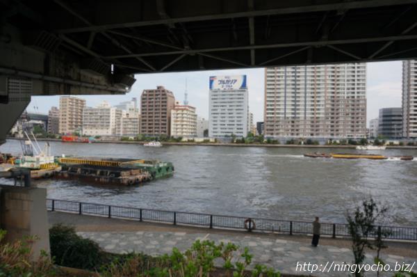 浜町公園バーベキュー場から見える隅田川画像